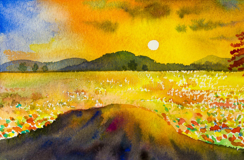 Download Watercolor Landscape Original Painting Colorful Of Mountain Sunset Stock Illustration