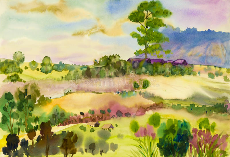 Watercolor landscape original painting colorful of mountain and wooden house. Watercolor landscape original painting colorful of mountain and rice field with royalty free illustration