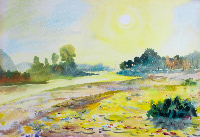Watercolor landscape original painting colorful of sun in morning. Watercolor landscape original painting colorful of sun in morning and mountain,river in stock illustration