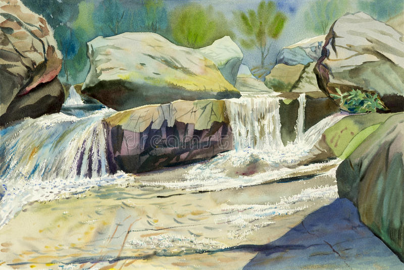 Watercolor landscape original painting colorful of waterfall. And emotion in green tree background royalty free illustration