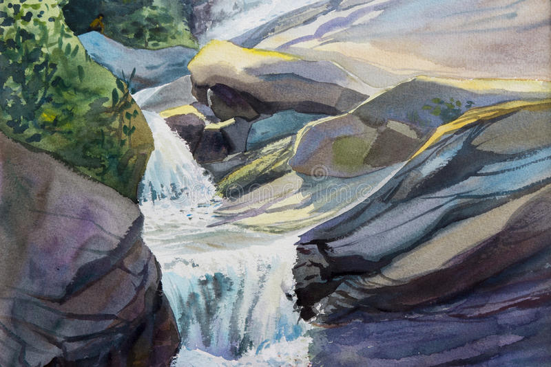 Watercolor landscape original painting colorful of waterfall. Watercolor landscape original painting colorful of waterfall,rock cliff,in forest nature summer royalty free illustration