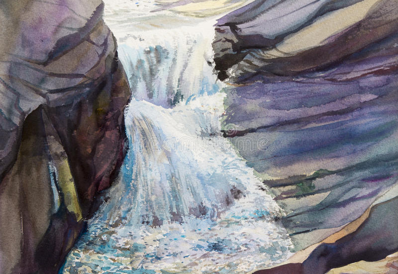 Watercolor landscape original painting colorful of waterfall. royalty free illustration