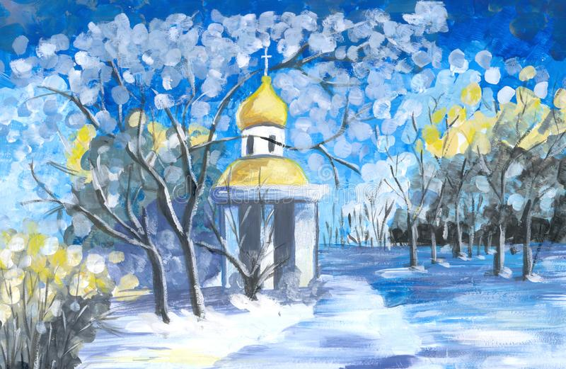 Watercolor landscape with orthodox church, blossoming trees and field vector illustration
