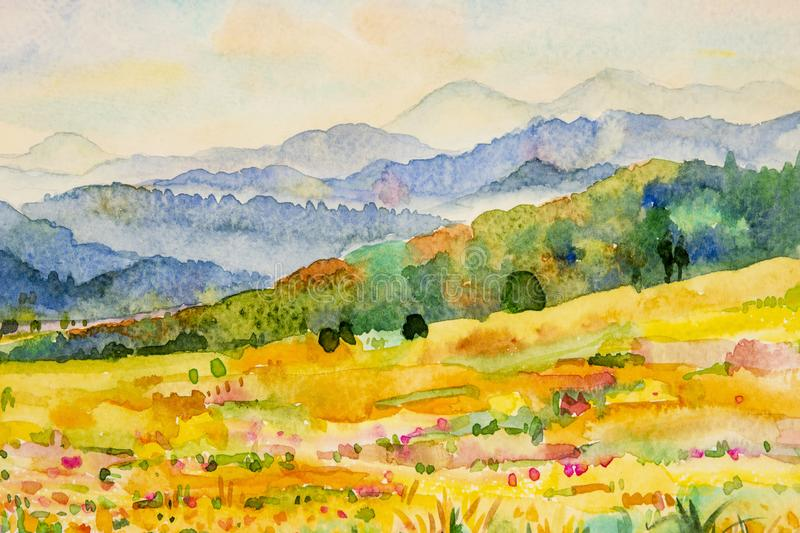 Watercolor landscape painting of mountain and meadow. Watercolor landscape painting colorful of mountain and meadow in the Panorama view and emotion rural stock illustration