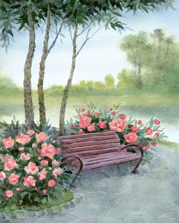 Watercolor landscape. Park bench by the bushes pions vector illustration