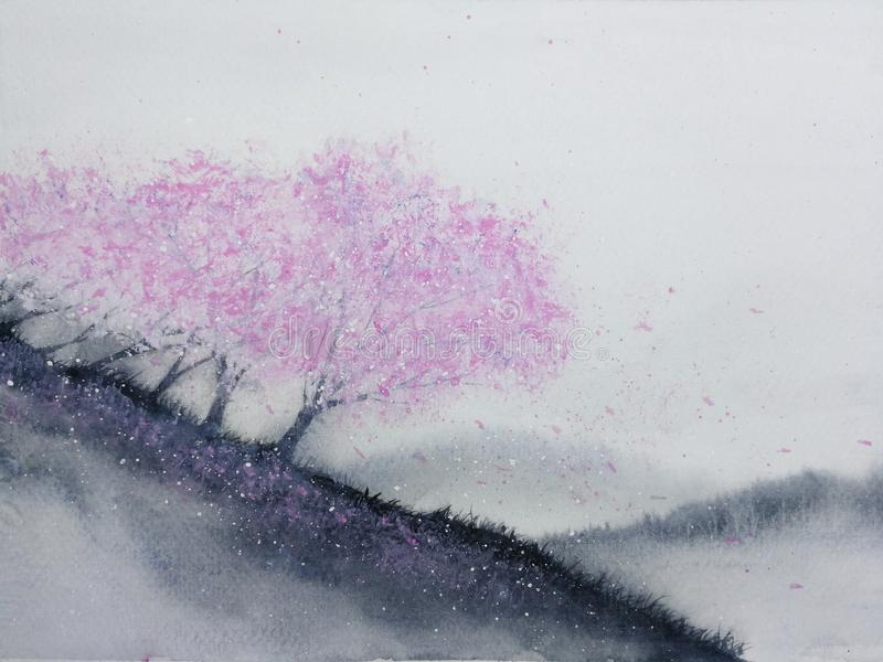 Watercolor landscape pink trees cherry blossom or sakura leaf falling to the wind in mountain hill with meadow field. traditional stock illustration