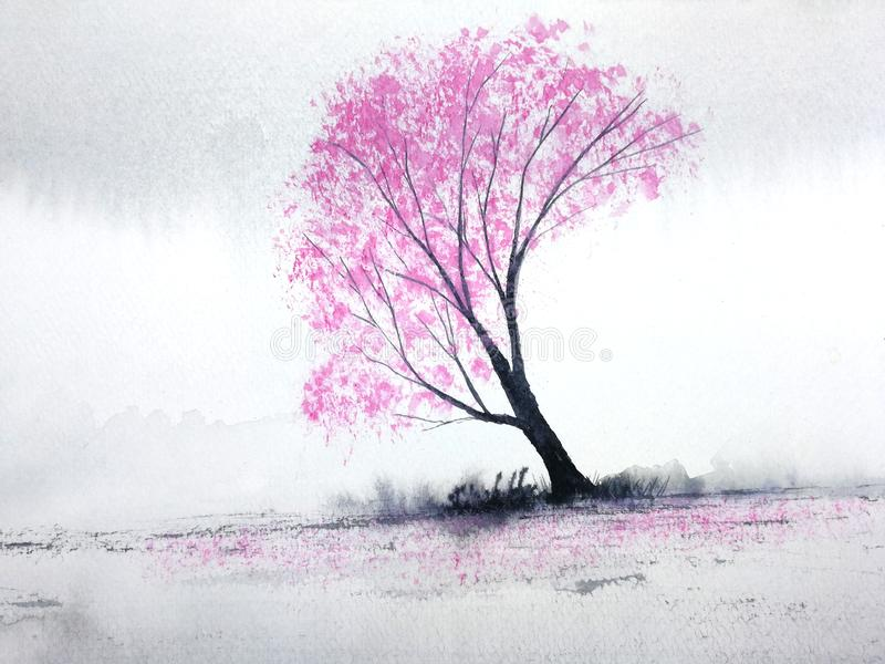 Watercolor landscape pink trees cherry blossom or sakura leaf falling to the wind in mountain hill with meadow field. traditional royalty free illustration
