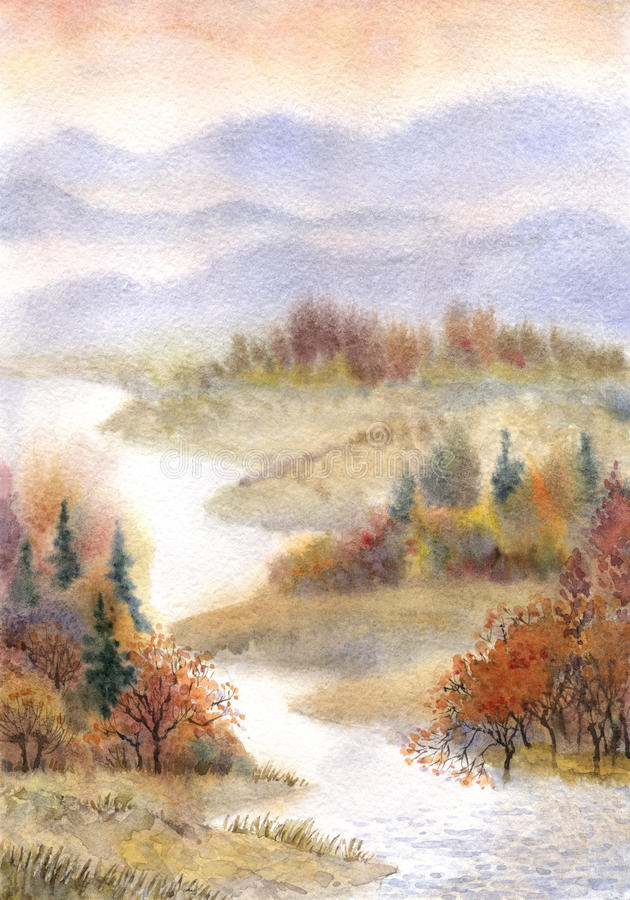 Watercolor landscape. River in the autumn forest stock illustration
