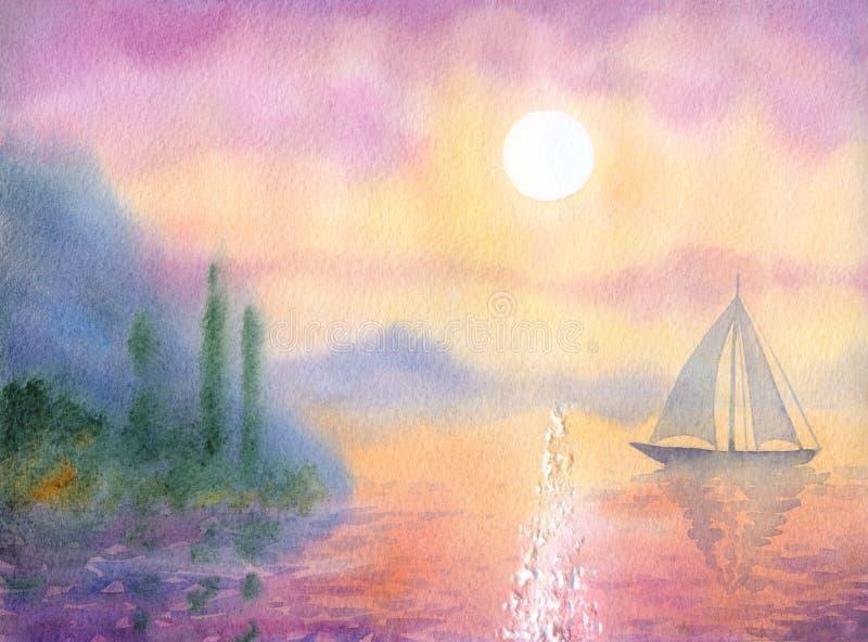 Watercolor landscape. Sailboat at Sea quiet evening stock illustration