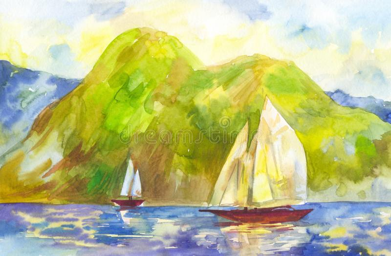 Watercolor sailboats on the background of green mountains. Handmade landscape with a sunset or sunrise scene. Watercolor landscape with sailboats on sunset or royalty free illustration