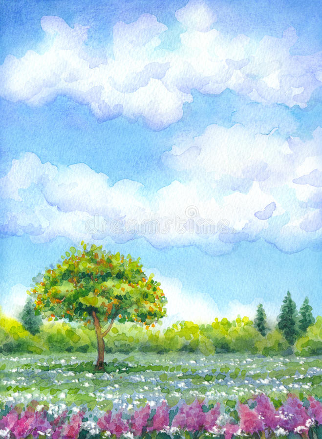 Watercolor landscape of series of stock illustration