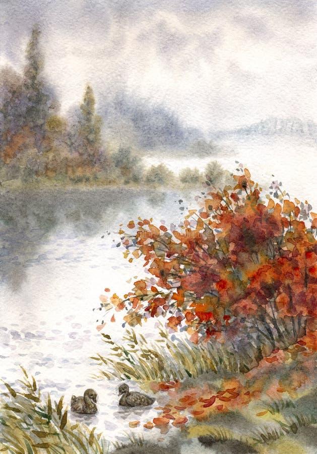 Watercolor landscape. Sketch of the autumn lake vector illustration
