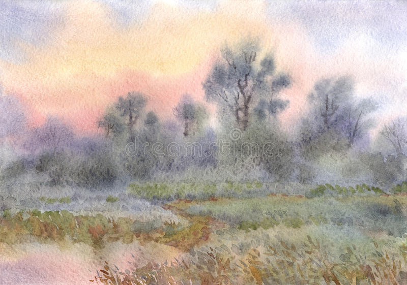 Watercolor landscape. Sunrise over the woods and meadows around vector illustration