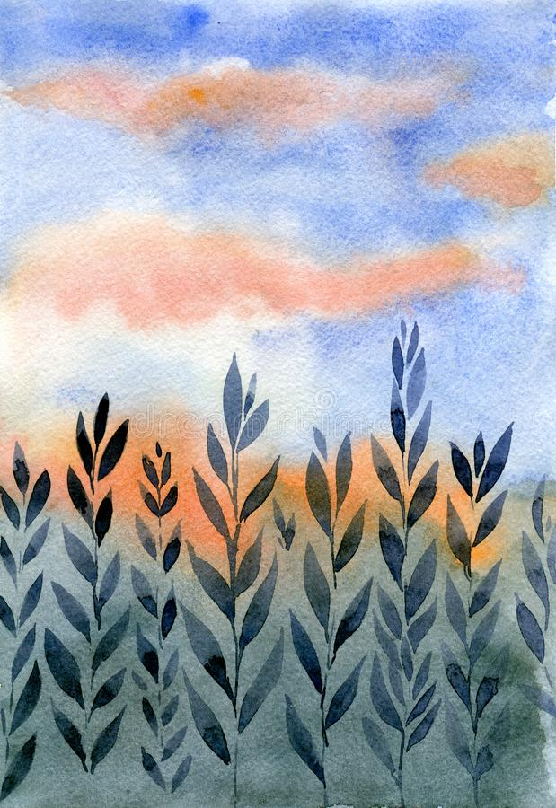 Watercolor Landscape: Sunset in the field. hand drawn illustration royalty free illustration