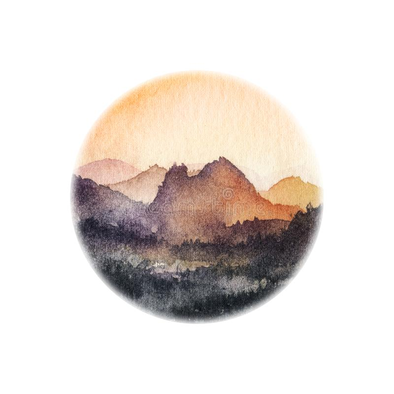Watercolor landscape sunset mountains hand drawn illustration. Round frame with silhouettes of mountains and forest. Art illustration for logo, greeting card stock illustration
