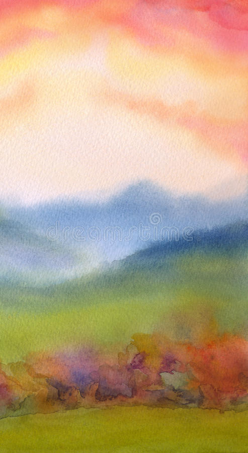 Watercolor landscape. Sunset over mountains. Colorful handmade watercolour romantic backdrop with space for text on pink heaven. Light green grassland steep and vector illustration