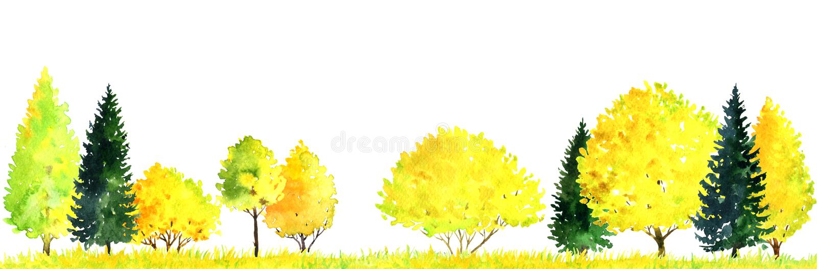 Watercolor landscape with trees royalty free illustration