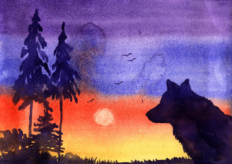 Watercolor landscape, trees and wolf stock photography