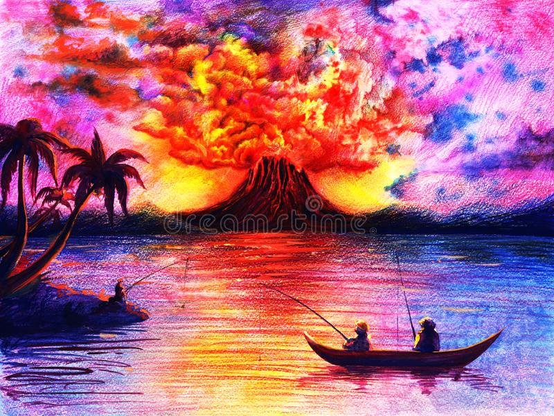 Watercolor landscape with volcano, lava and smoke, colorful sky, dark silhouette of palm trees, people on river, sea, ocean, abstr stock illustration