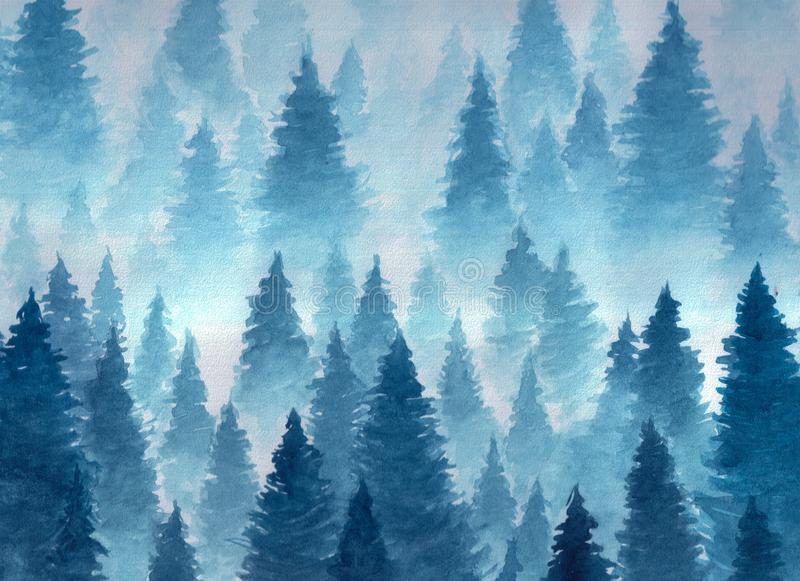 Watercolor landscape of winter cloudy forest stock photos