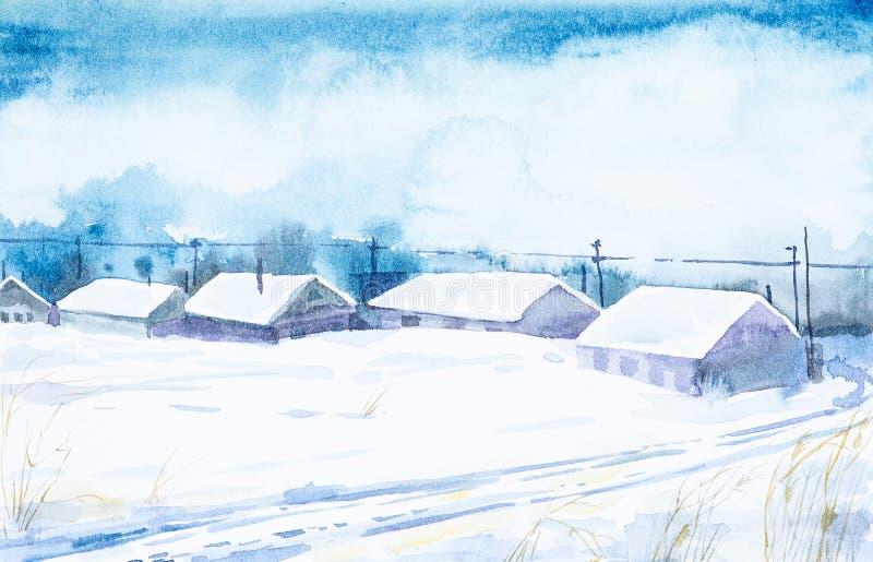 Watercolor landscape. Winter frozen day in the Russian village stock illustration