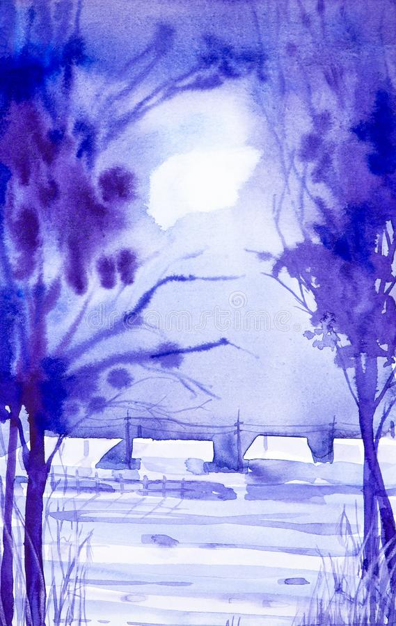 Watercolor landscape. Winter night in the village among the trees in the moonlight royalty free illustration