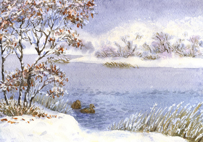Watercolor landscape. Winter snow on a cloudy day on the lake. Watercolor landscape. Two ducks on the lake near the shore in winter snow on a cloudy day stock illustration