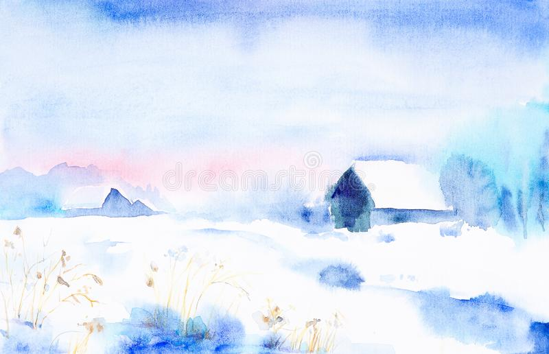 Watercolor landscape. Winter sunset in the village among the trees stock illustration