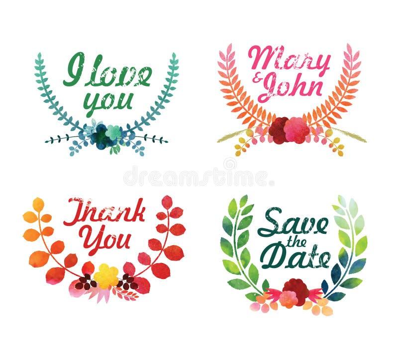 Watercolor laurel wreaths. Decorative floral elements. Vector illustration