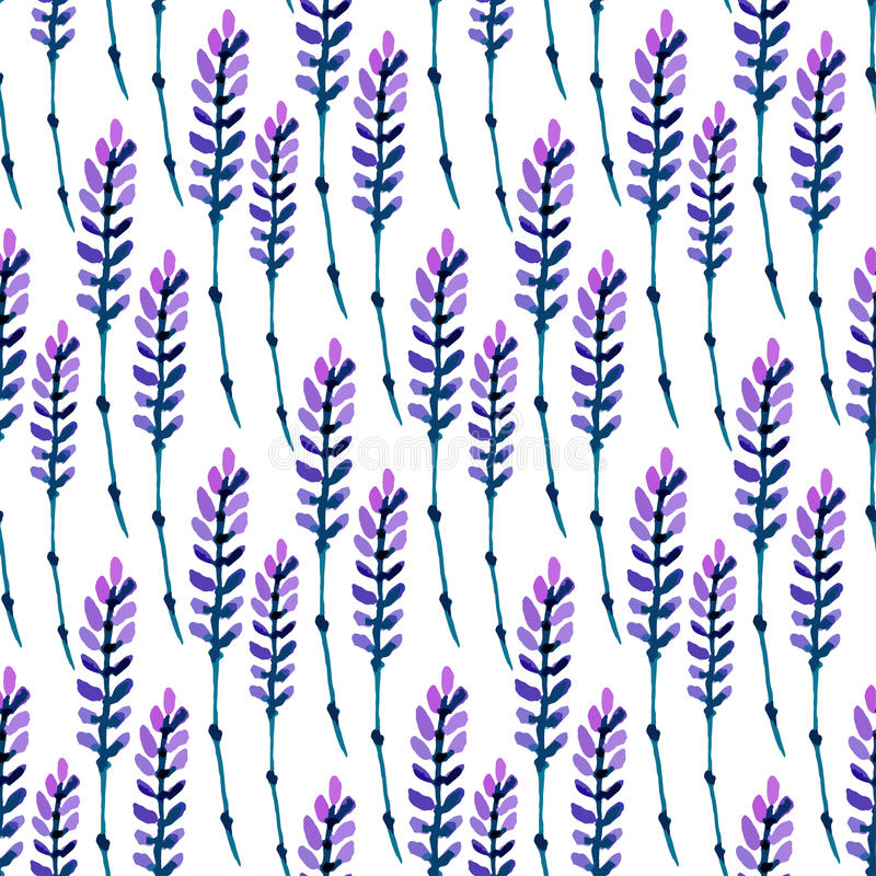 Watercolor lavender seamless pattern. Pattern for fabric, paper and other printing and web projects. Watercolor background. royalty free illustration