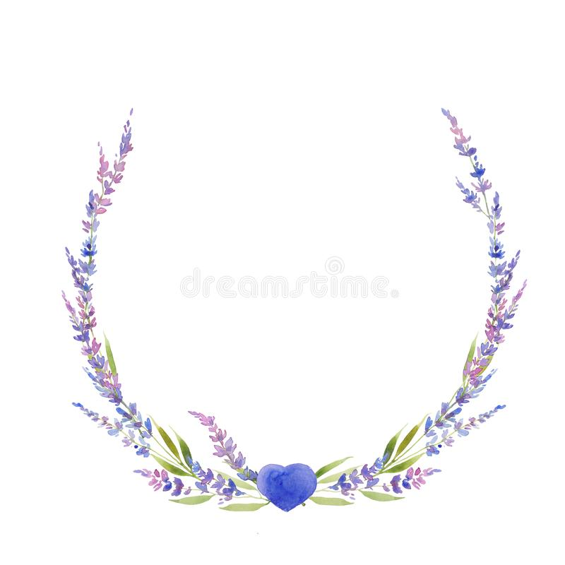 Watercolor lavender wreath of flowers, circle. floral provencal style design . Hand drawn isolated on white background stock illustration