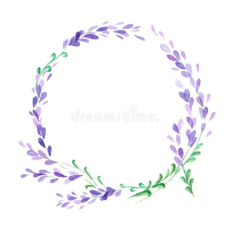 Watercolor lavender wreath royalty free illustration