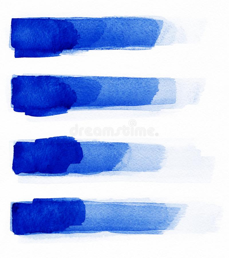 watercolor Le résumé bleu a peint des courses d'encre réglées sur le papier d'aquarelle Courses d'encre Course à plat aimable de  photographie stock