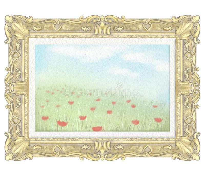 Watercolor and lead pencil drawing with summer landscape in golden rectangular frame stock illustration