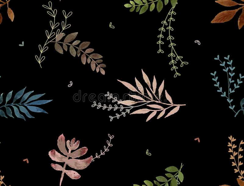 Watercolor leaf pattern black background. Watercolor leaf pattern color leaves seamless bakground design black colored royalty free illustration