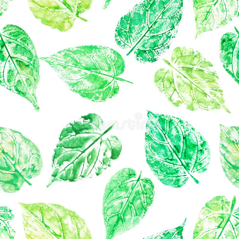 Watercolor leaf printed seamless pattern, heart shaped tropical stock images