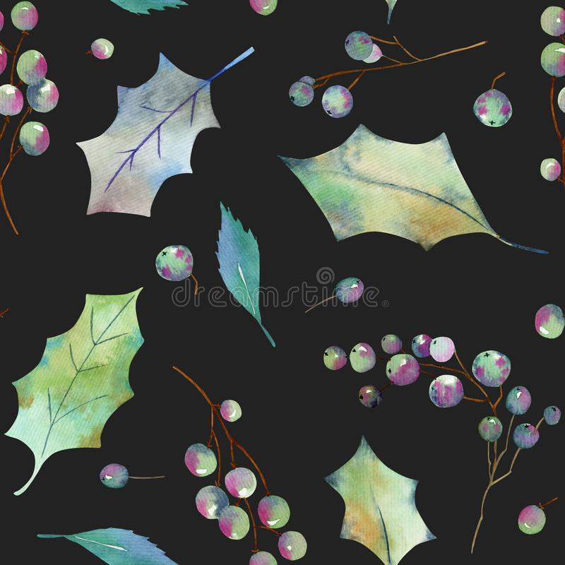 Watercolor leaves and branches of Christmas holly tree seamless pattern stock illustration