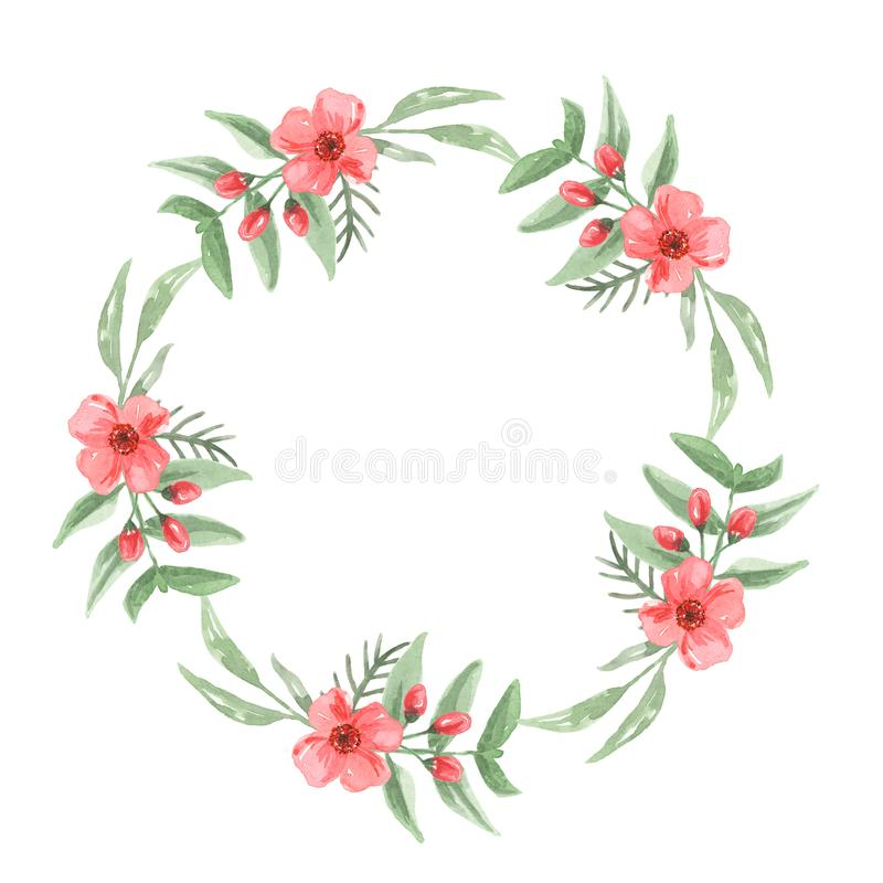 Watercolor Leaves Floral Border Flowers Wreath Tropical Green Red Aloha vector illustration