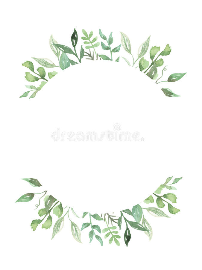 Download Watercolor Leaves Hand Painted Greenery Frame Wedding Foliage Wreath Stock Illustration