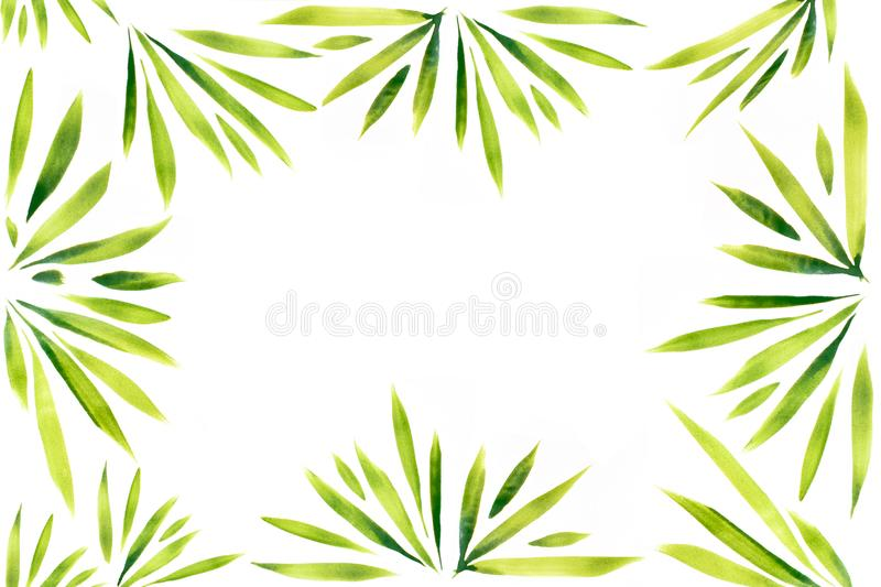 Watercolor leaves and plants frame pattern art hand painted on white background. Watercolor leaves and plants frame pattern art hand painted stock illustration
