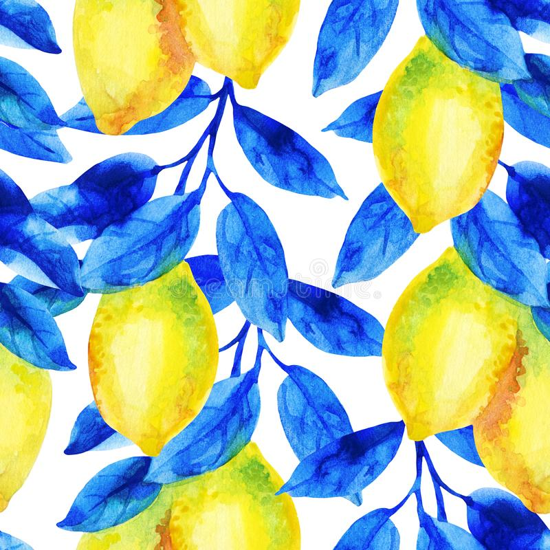Watercolor lemon fruit branch with bright blue leaves seamless pattern. vector illustration