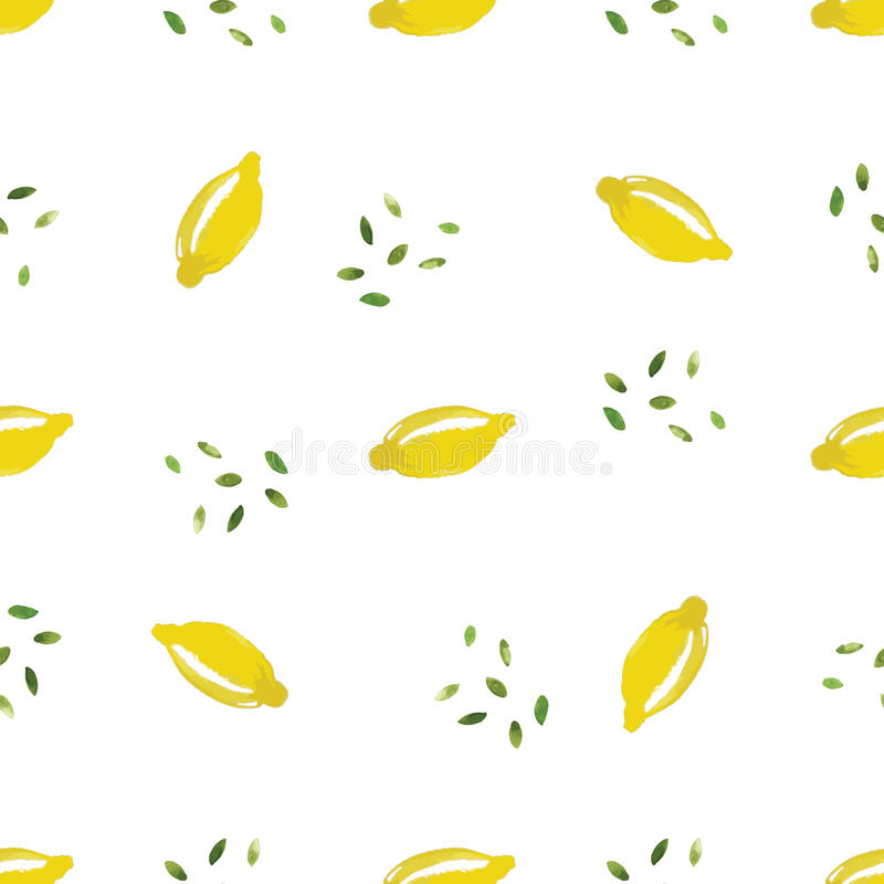 Watercolor lemon seamless pattern in vector. vector illustration