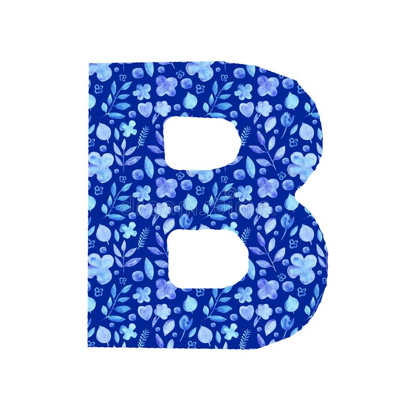 Watercolor letter B with a pattern of flowers and leaves. Watercolor letter B with a pattern of provincial simple blue silhouettes of flowers and leaves floral stock illustration