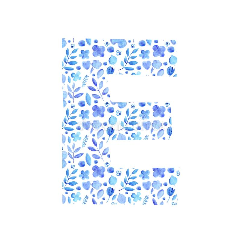 Watercolor letter E with a pattern of flowers and leaves. Watercolor letter E with a pattern of provincial simple blue silhouettes of flowers and leaves floral stock illustration