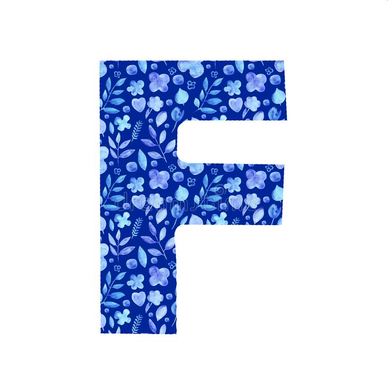 Watercolor letter F with a pattern of flowers and leaves. Watercolor letter F with a pattern of provincial simple blue silhouettes of flowers and leaves floral vector illustration