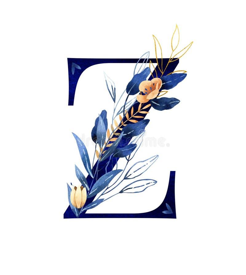 Luxury Brand Name Golden Floral Logo Concept Design: Gold Floral Z Letter Logo . Stock Illustration