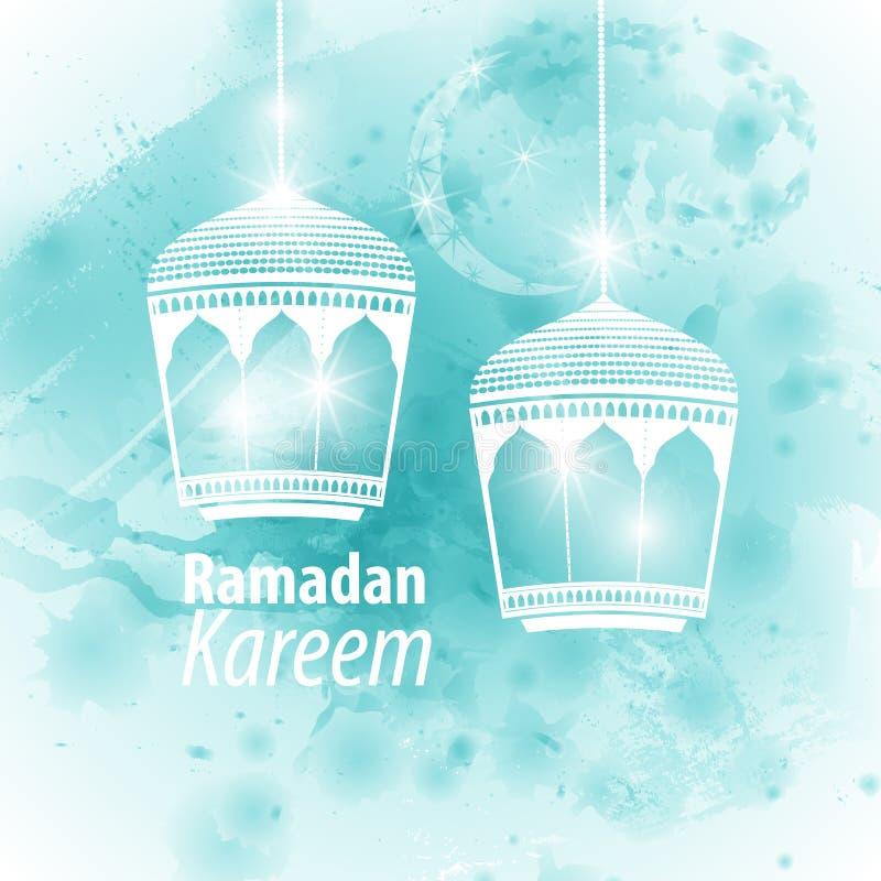 Watercolor light blue blob Ramadan kareem. Watercolor light blue blob illustration Ramadan kareem mubarak. Beautiful islamic stylized lantern traditional vector illustration