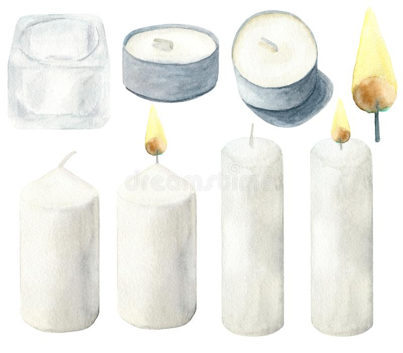 Watercolor light candles with flame and glass candlestick set. Hand drawn traditional elements of home decoration, cosiness,. Celebration. Clipart isolated on stock illustration