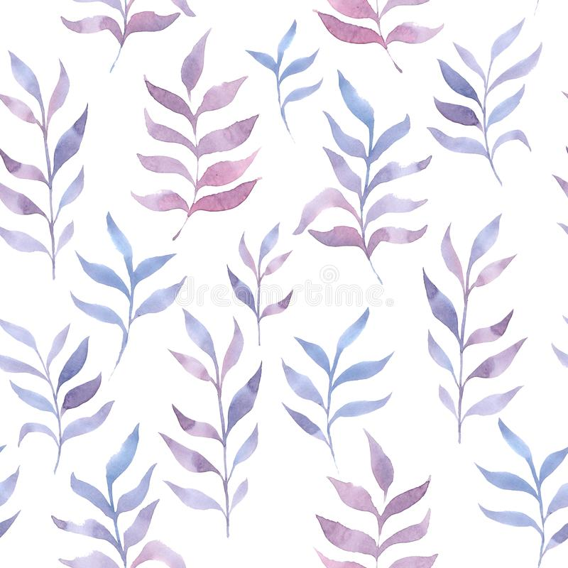 Watercolor light delicate leaves pattern stock illustration