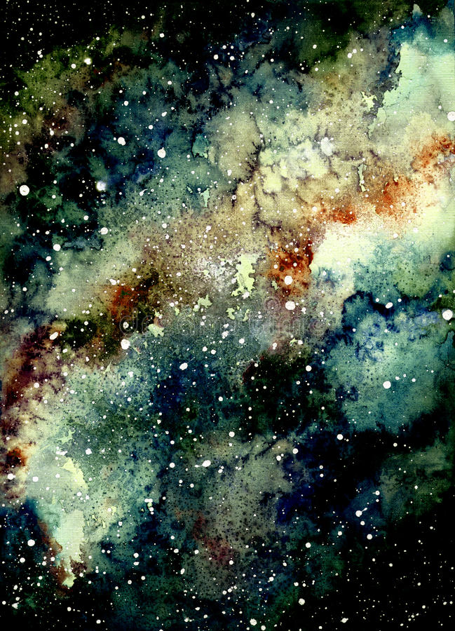 Watercolor Light Yellow Nebula and Deep Space. Watercolor Light Yellow Nebula, Stars and Deep Space vector illustration